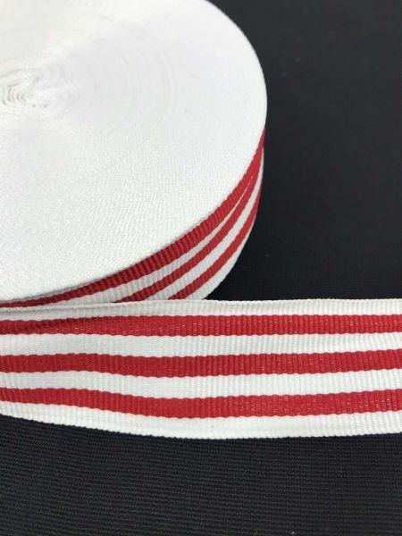 Webband 3cm 7Streifen Rot-Weiß