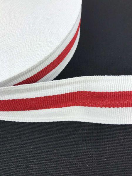 Webband 3cm 3Streifen Weiß-Rot