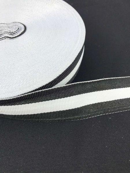 Webband 3cm 3Streifen Schwarz-Weiß