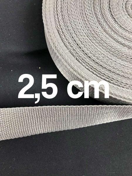 Gurtband 2,5 cm Breit Hellgrau