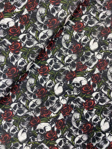 Baumwolle Skulls and Roses Weiß