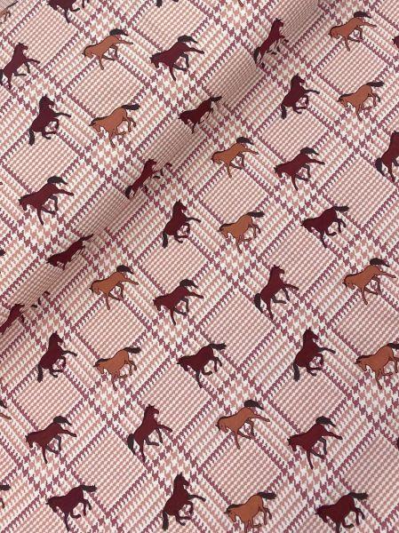 Baumwolljersey ÖKOTEX Horses Dusty Pink