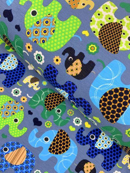 Baumwolljersey Elefantinos Jeansblau