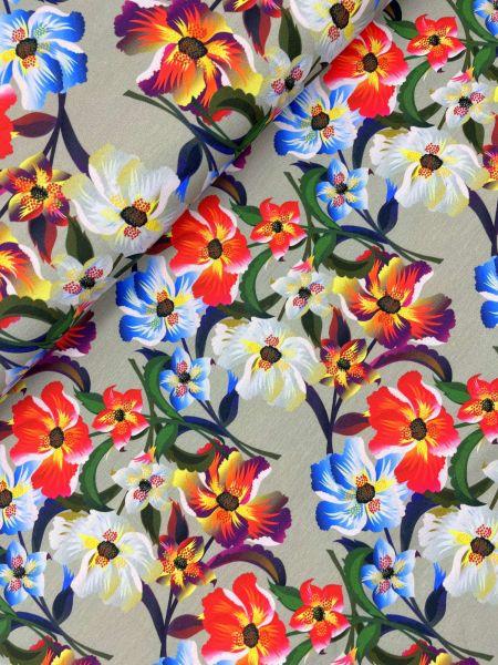 Baumwolljersey Bunte Blumen Grau