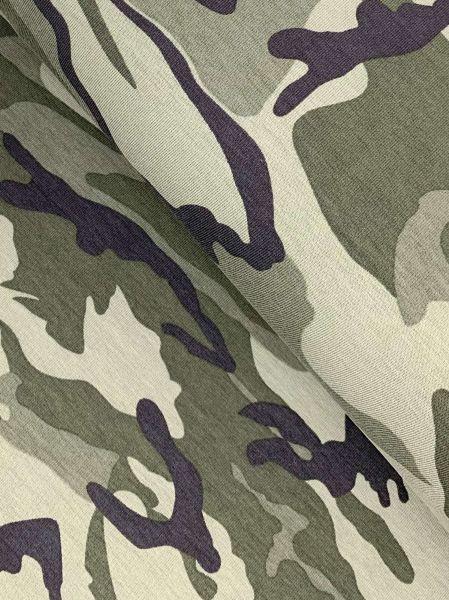 French Terry Camouflage Khaki ÖKOTEX