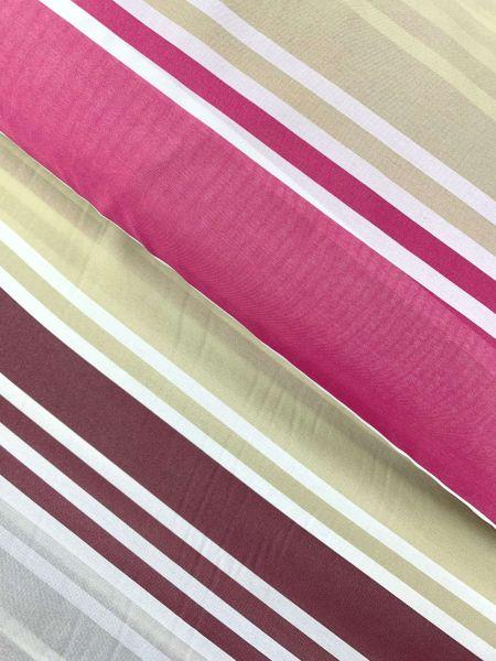 Gardinenstoff Leicht Streifen PinkBeige/Beere