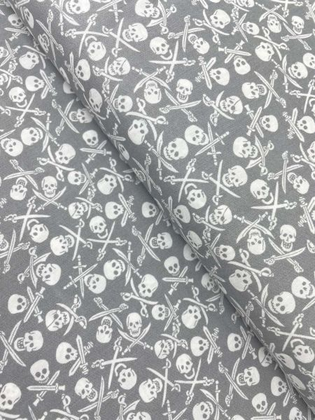Baumwolle Ökotex Totenkopf Grau
