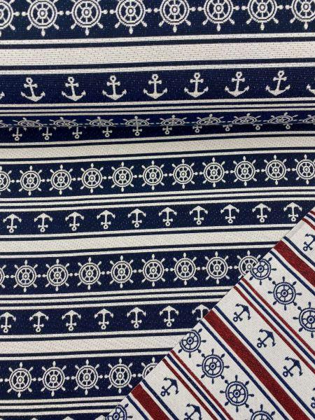 Gobelin Maritim Navy/Weiss/Rot