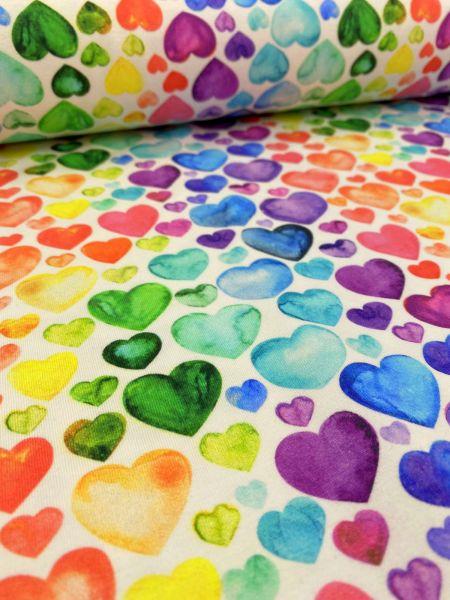 Baumwoll-Jersey Rainbow Hearts Weiß