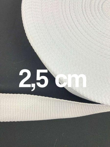 Gurtband 2,5 cm Breit Weiß