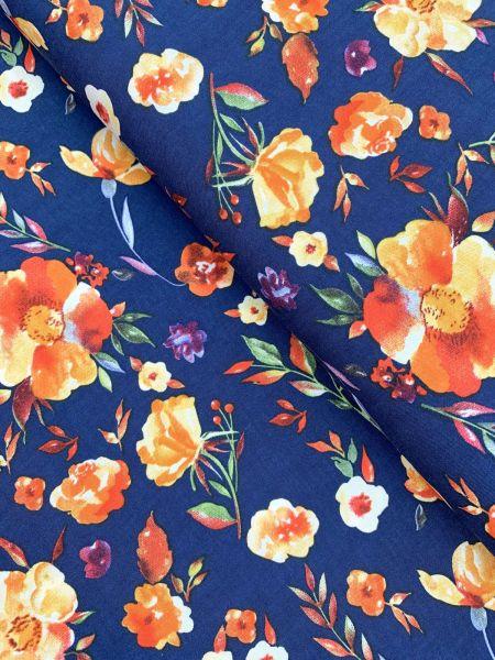 Viscose-Webware Fleurs Navy/Orange