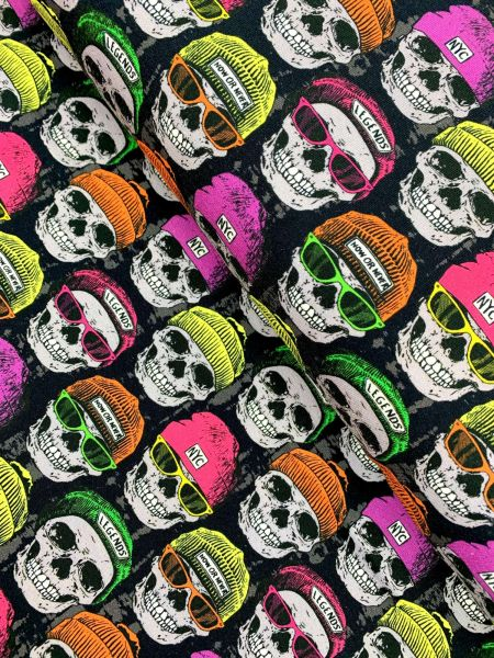 French Terry ÖKOTEX Now or Never SKULL
