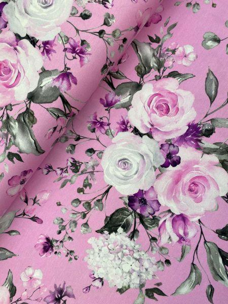 Baumwolljersey Ökotex Pink Roses DIGITALDRUCK