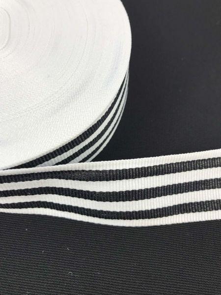 Webband 3cm 7Streifen Schwarz-Weiß