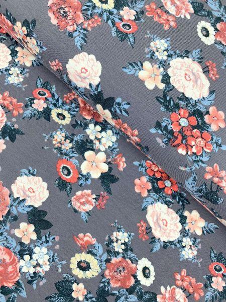 Baumwolljersey Kleine Blume Grau