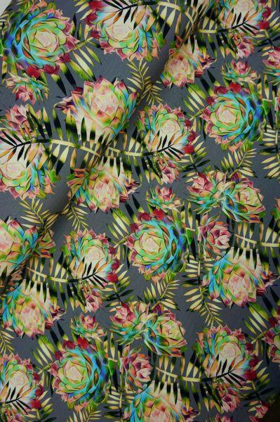 Baumwolljersey Graphic Flower Grey