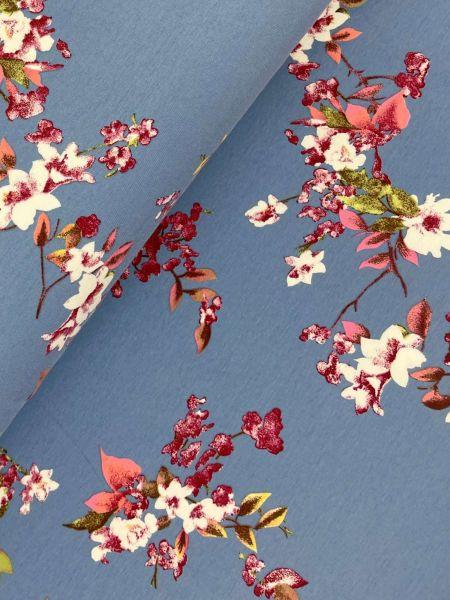 Baumwolljersey Ökotex Kirschblüte Hellblau