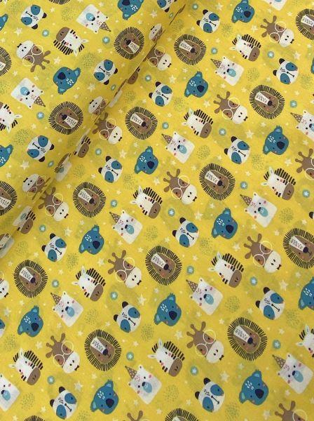 Baumwolle Ökotex Tier Party Gelb