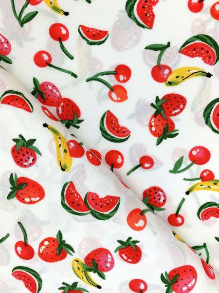 Viscose-Webware Fruits Weiss