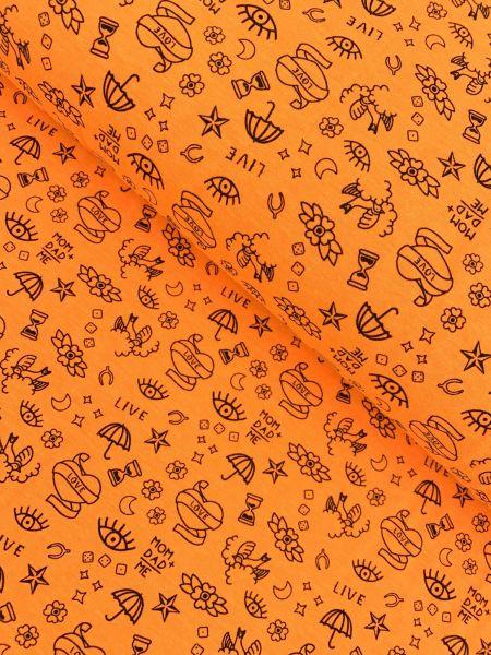 II.WAHL Baumwolljersey Ökotex Neon Tattoo Orange