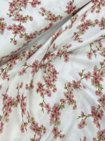 Bio Musselin DIGITAL Cherry Blossom Weiß