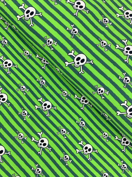 Baumwolljersey Totenkopf/Streifen Grün