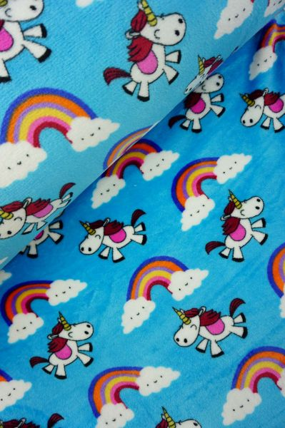 Wellnessfleece Happy Unicorn Türkis