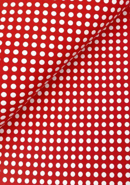 Baumwolljersey ÖKOTEX Punkte Rot-Weiß