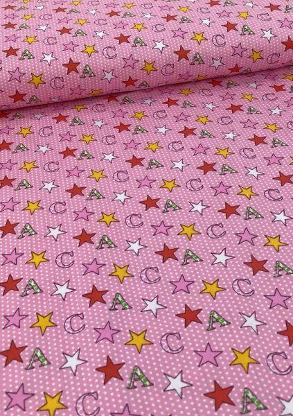 Baumwoll-Webware AC-Star Rosa