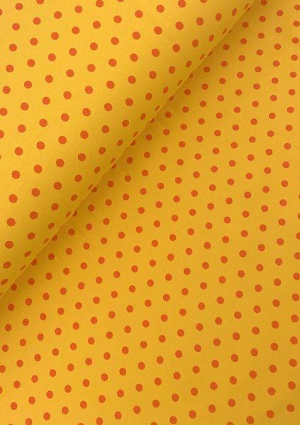 Baumwolljersey ÖKOTEX Punkte Gelb-Orange