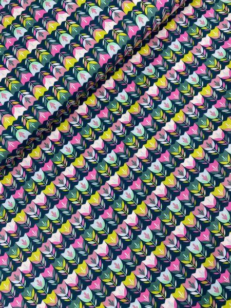 Baumwoll-Webware Happy Tulip Flaschengrün