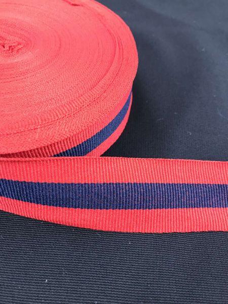 Webband 3cm 3Streifen Rot-Blau