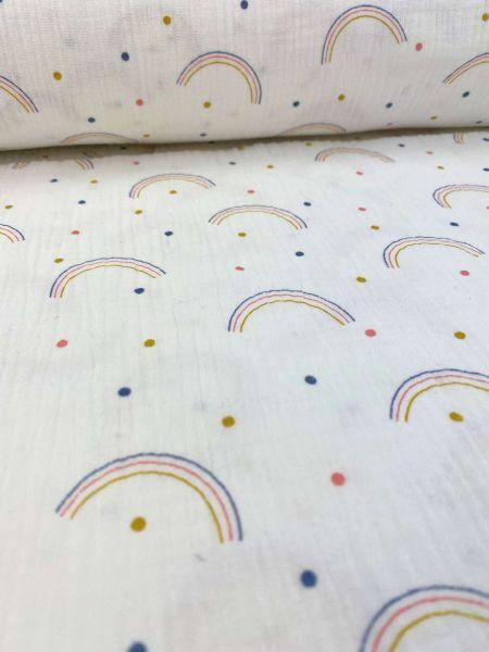 Musselin Happy Rainbow Dots Weiß