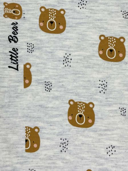 Baumwolljersey Little Bear Dusty Grau-Melange
