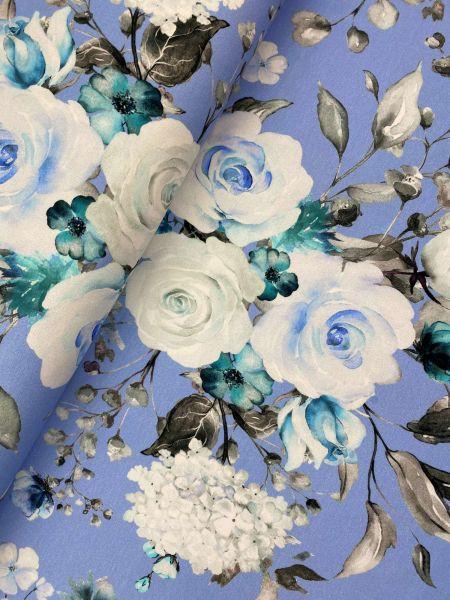 Baumwolljersey Ökotex Blue Roses DIGITALDRUCK