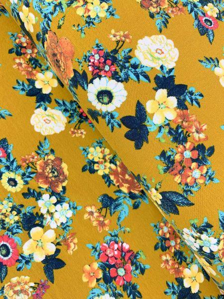 Baumwolljersey Kleine Blume Senfgelb