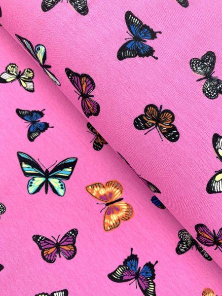 Baumwolljersey Ökotex Schmetterling Pink