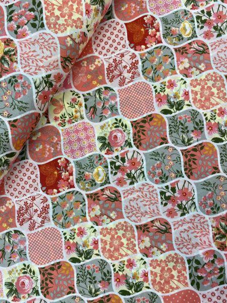 Baumwoll-Webware Ökotex Autumn Flower Rosa
