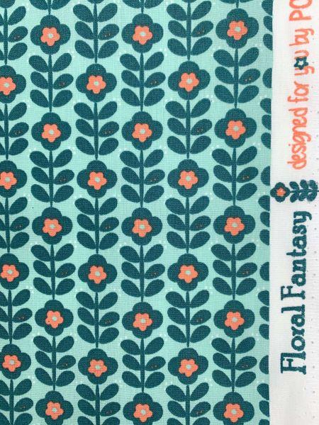 Beschichtete Baumwolle Fantasy Flower Mint