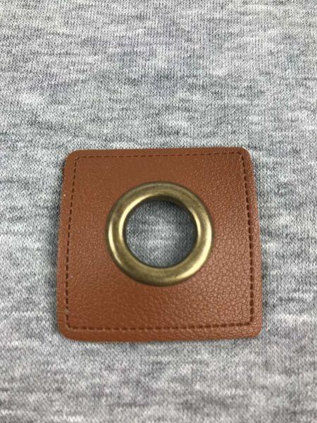 Öse auf Kunstleder Braun 14mm Bronze