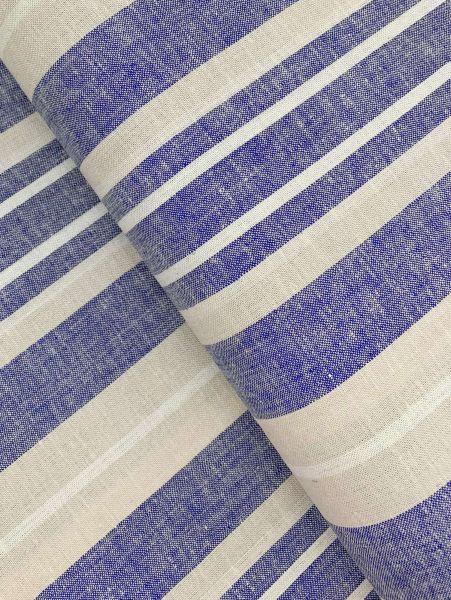 Leinen/Baumwolle Gestreift Blau