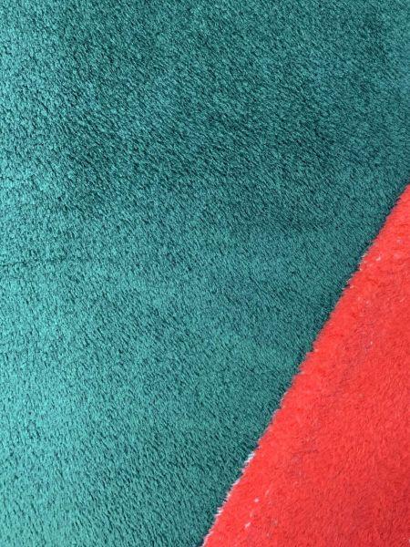 Wellness-Fleece Doubleface Dunkelgrün/Rot