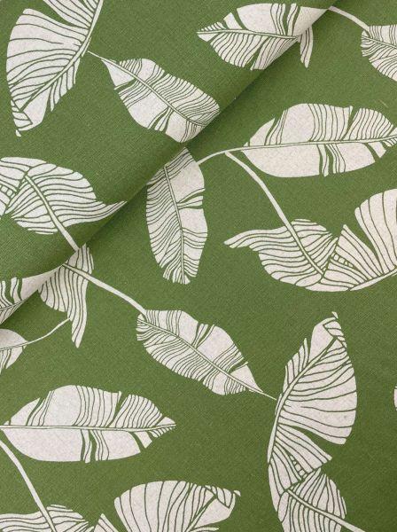 Leinen-Viscose Palmenblatt Grün