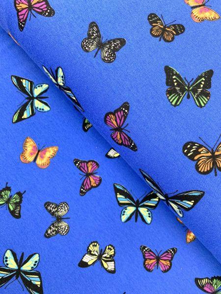 Baumwolljersey Ökotex Schmetterling Blau