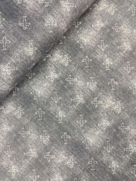 Baumwolljersey Ökotex Jeans FLUGZEUG Grau