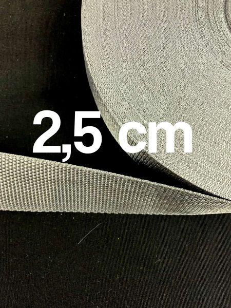 Gurtband 2,5 cm Breit Dunkelgrau