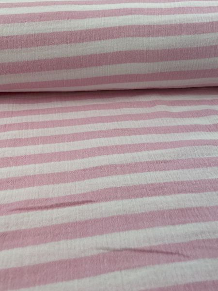 Musselin ÖKOTEX Streifen Rosa