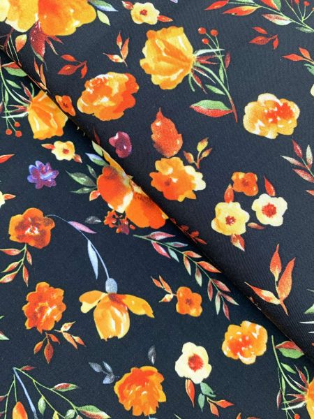 Viscose-Webware Fleurs Schwarz/Orange