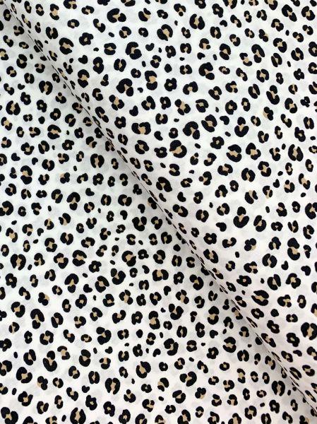 Baumwolle Ökotex Leopardenmuster Weiss