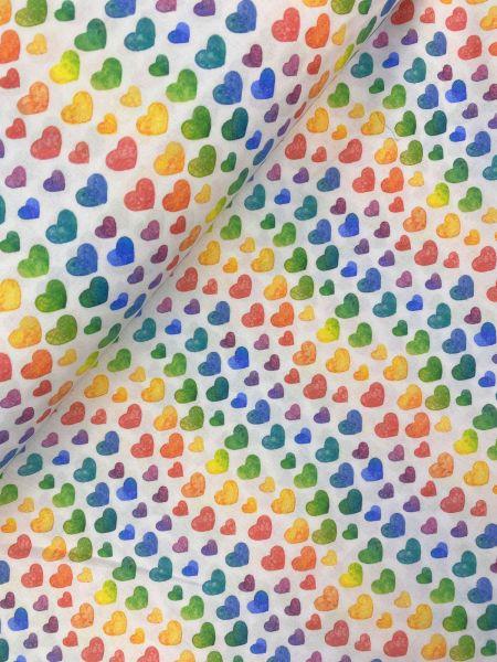 BW-Webware Rainbow Hearts Weiß
